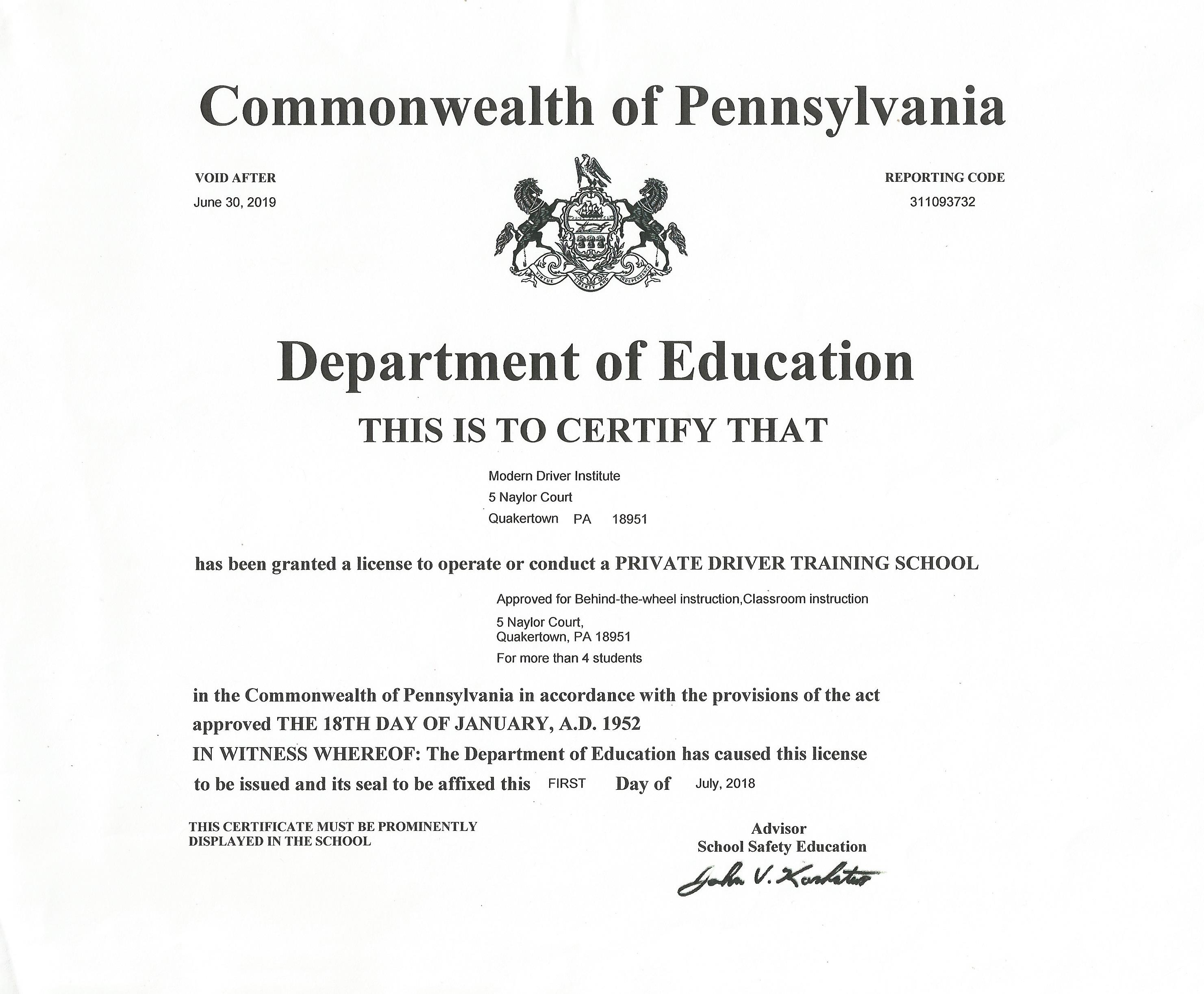 drivers education teacher certification pennsylvania